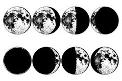 Moon phases planets in solar system. astrology or astronomical galaxy space. orbit or circle. engraved hand drawn in old Royalty Free Stock Photo