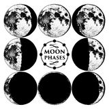 Moon phases planets in solar system. astrology or astronomical galaxy space. orbit or circle. engraved hand drawn in old Royalty Free Stock Images