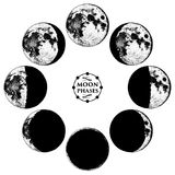 Moon phases planets in solar system. astrology or astronomical galaxy space. orbit or circle. engraved hand drawn in old Royalty Free Stock Photos