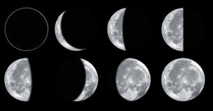 Moon phases. Set of different moon phases isolated on black background stock photos