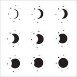 Moon phases silhouette set Stock Photos
