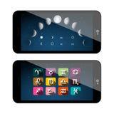Moon Phases Symbols. Mobile Phone App. royalty free illustration