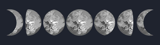 Moon phases vector illustration. Grey marbled texture shape. Stock Photography