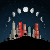 Moon Phases Vector Illustration. Royalty Free Stock Photos