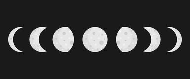 Moon phases vector icons on dark background Stock Photography