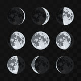 Moon phases vector set Stock Photography