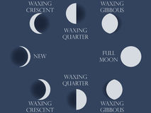 Moon phases. The whole cycle from new moon to full. Vector illustration stock illustration