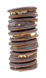 Moon Pies Stacked On A White Background Stock Photography
