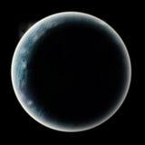 Moon planet. Moon or planet in space. globe radianting glow in dark sky Stock Image