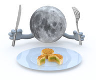Moon planet with hands and utensils in front of an mooncake plat Royalty Free Stock Photos