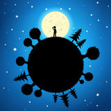 Moon and planet in the night sky. Silhouette of a lone man standing on a planet staring at the moon in a starry night sky. EPS10 Vector royalty free illustration