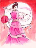 Moon Princess. Watercolor painting of Chang'e, the mythical Moon Goddess of Immortality Royalty Free Stock Images