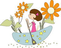 Moon princess. Flower ,girls,star  and a boat Stock Images