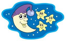 Moon in protezione e stelle Fotografia Stock