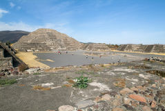 The moon pyramid at Teotihuacan en Mexico Stock Image
