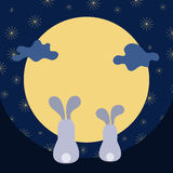 Moon rabbit of Mid Autumn Festival. Chuseok Royalty Free Stock Photography