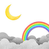Moon and rainbow. Grunge paper texture moon and rainbow Royalty Free Stock Images