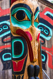 Moon Raven Totem Pole Near Saxman Tribal House Stock Image
