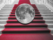 Moon on red carpet Royalty Free Stock Image
