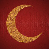 Moon on red paper background for holy month of Stock Images