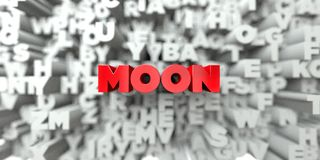 MOON -  Red text on typography background - 3D rendered royalty free stock image Stock Images