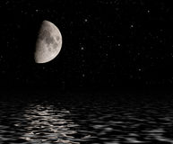 Moon reflected in water. Royalty Free Stock Photography