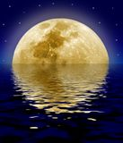 Moon reflecting on sea. Scenic view of large moon in starry night sky reflecting on ocean surface stock illustration
