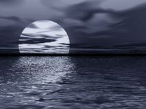 Moon reflection. Abstraction night landscape. Moon reflection in sea Stock Photos