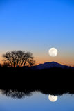 Moon Reflection in Evening Blue Royalty Free Stock Photography