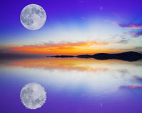 Moon reflection Stock Images