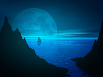 Moon and reflection in sea water stock illustration