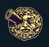 Moon Reise, stilisiertes Karikaturmondgesicht mit Weltraumrakete im Auge Lizenzfreie Stockfotografie