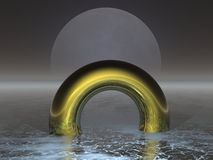 Moon Ring. Illustration of golden ring (render Stock Images