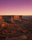 Moon rise in the canyon Stock Photo