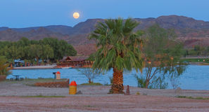 Moon Rise over the Colorado River Stock Image