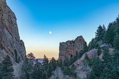 Moon Rise Over Eldorado Canyon stock photography