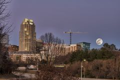 Moon Rise Over Raleigh royalty free stock photo