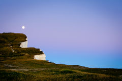Moon rise over Seven Sisters, Sussex, England Royalty Free Stock Photos