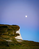 Moon rise over Seven Sisters & x28;2& x29;, Sussex, England Royalty Free Stock Photos