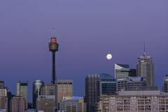 Moon rise over Sydney Royalty Free Stock Images