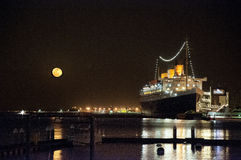 Moon Rise, Queen Mary, Long Beach, California Stock Photos