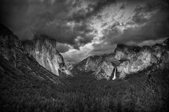 Moon Rise Tunnel View after a Storm Black and White Stock Photo