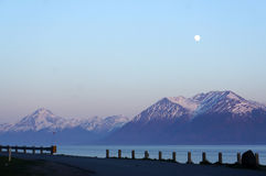 Moon rise Turnagain Arm Stock Photos