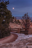 Moon Rises Over Snowy Path Stock Image
