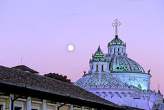 Moon rising above Church-Quito Royalty Free Stock Images