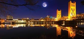Moon rising above Sacramento, California. A Moon rising above Sacramento, California stock image