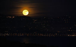 Moon rising in French Riviera Stock Image