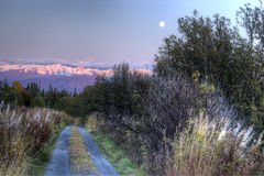 Moon rising over dirt road Royalty Free Stock Images