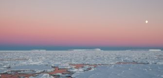 Moon rising over icebergs and sea-ice at sunset, Antarctica stock photo