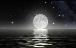 Moon rising over the ocean. Surface with starry sky in the background Stock Image